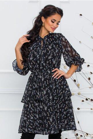 Rochie Angy neagra cu imprimeu floral discret si buline catifelate