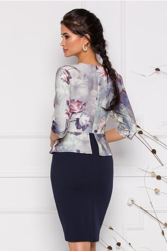Rochie Anisia bleumarin cu gri si flori la bust