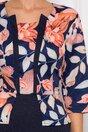 Rochie Anisia bleumarin cu imprimeu floral orange