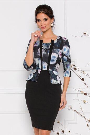Rochie Anisia neagra cu imprimeuri florale in nuante de bleu si lila