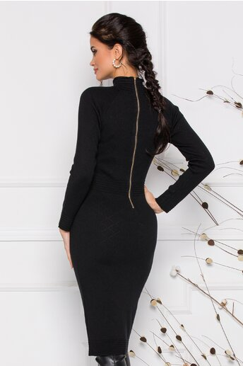 Rochie Betty neagra din tricot accesorizata cu nasturi