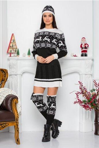 Rochie Bia neagra cu imprimeu de iarna