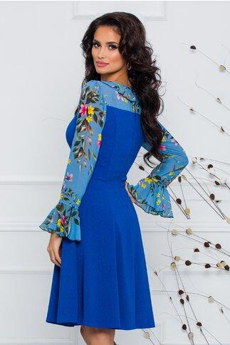 Rochie Calina albastra cu volane si maneci din voal imprimat