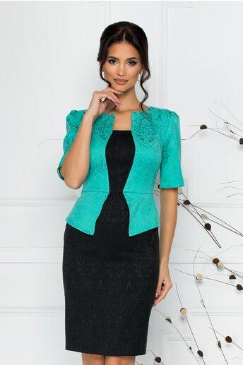 Rochie Cecille din brocard negru cu turcoaz