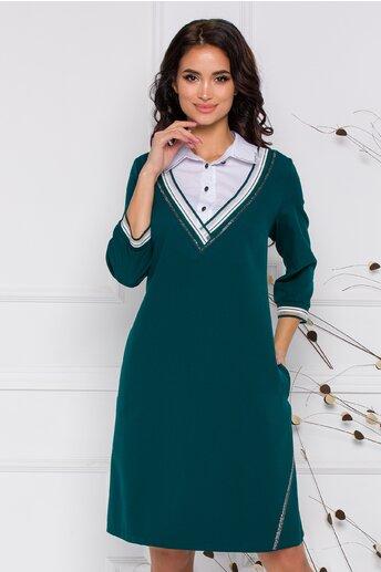 Rochie Chloe verde cu guler tip camasa