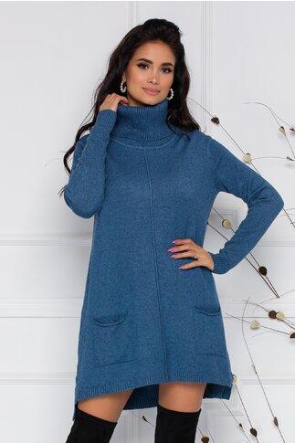 Rochie Clara scurta din tricot albastra cu buzunare