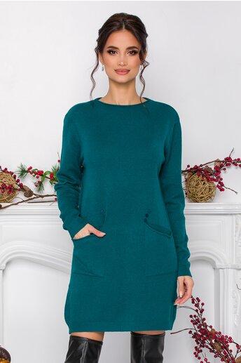 Rochie Corina turcoaz din tricot cu buzunare
