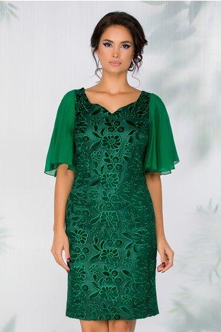 Rochie Dalia verde cu broderie florala catifelata
