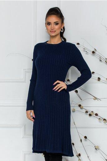 Rochie Damia bleumarin din tricot reiat