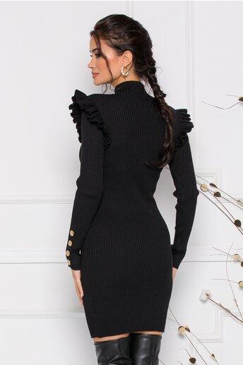Rochie Dara neagra cu volanase si nasturi decorativi