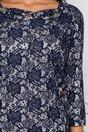 Rochie din dantela bleumarin cu dublura alba si aplicatii metalice la baza gatului
