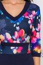 Rochie Dora bleumarin cu imprimeu multicolor la bust