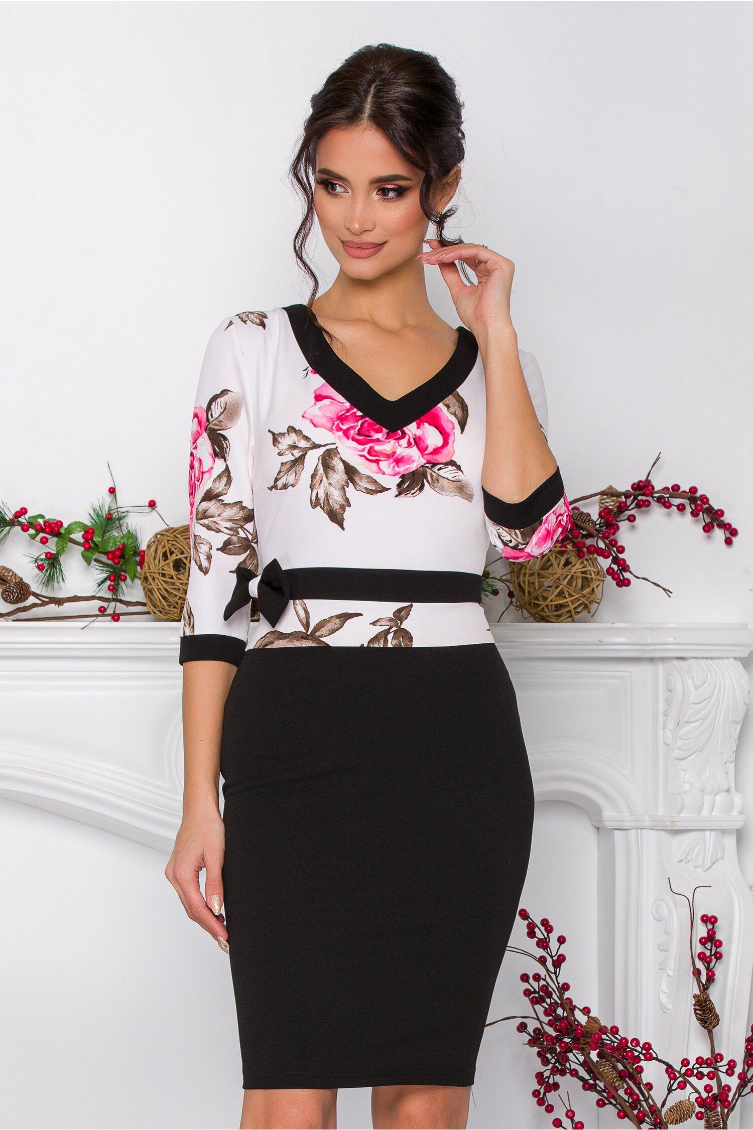 Rochie Dora neagra cu bust alb si flori roz