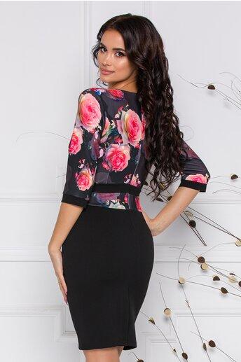 Rochie Dora neagra cu trandafiri roz la bust