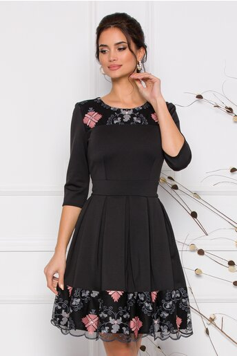 Rochie Ella Collection Angy neagra cu broderie roz si gri in stil traditional