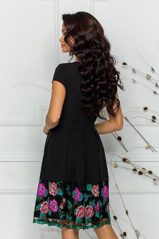 Rochie Ella Collection Angy neagra cu broderie traditionala in nuante de turcoaz si fucsia la decolteu si la baza