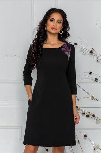 Rochie Ella Collection Nati neagra cu flori lila si gri la umeri