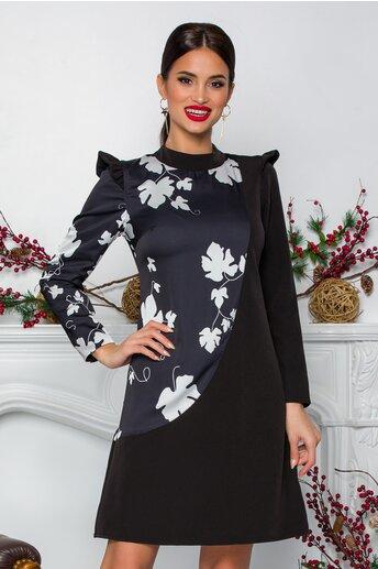 Rochie Ella Collection Penelope neagra cu imprimeuri albe