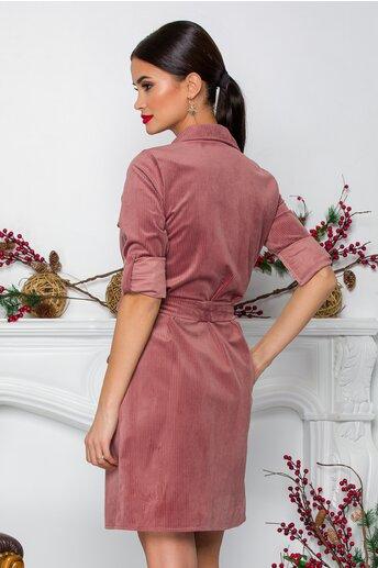 Rochie Estelle roz tip camasa din reiat