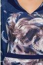 Rochie Eva bleumarin cu peplum si imprimeu lila