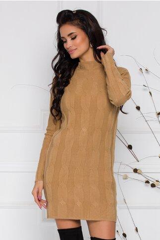 Rochie Fabiana crem cu impletituri din tricot