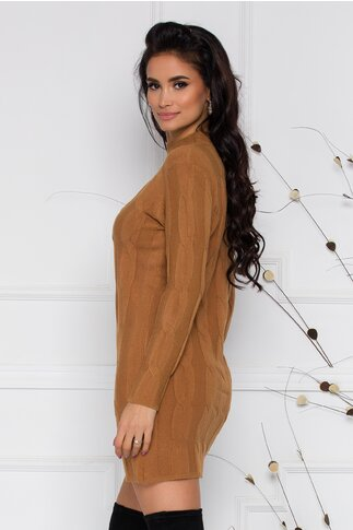 Rochie Fabiana maro cu impletituri din tricot