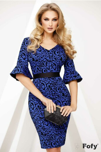 Rochie Fofy dama albastru royal conica cu imprimeu catifelat arabesque
