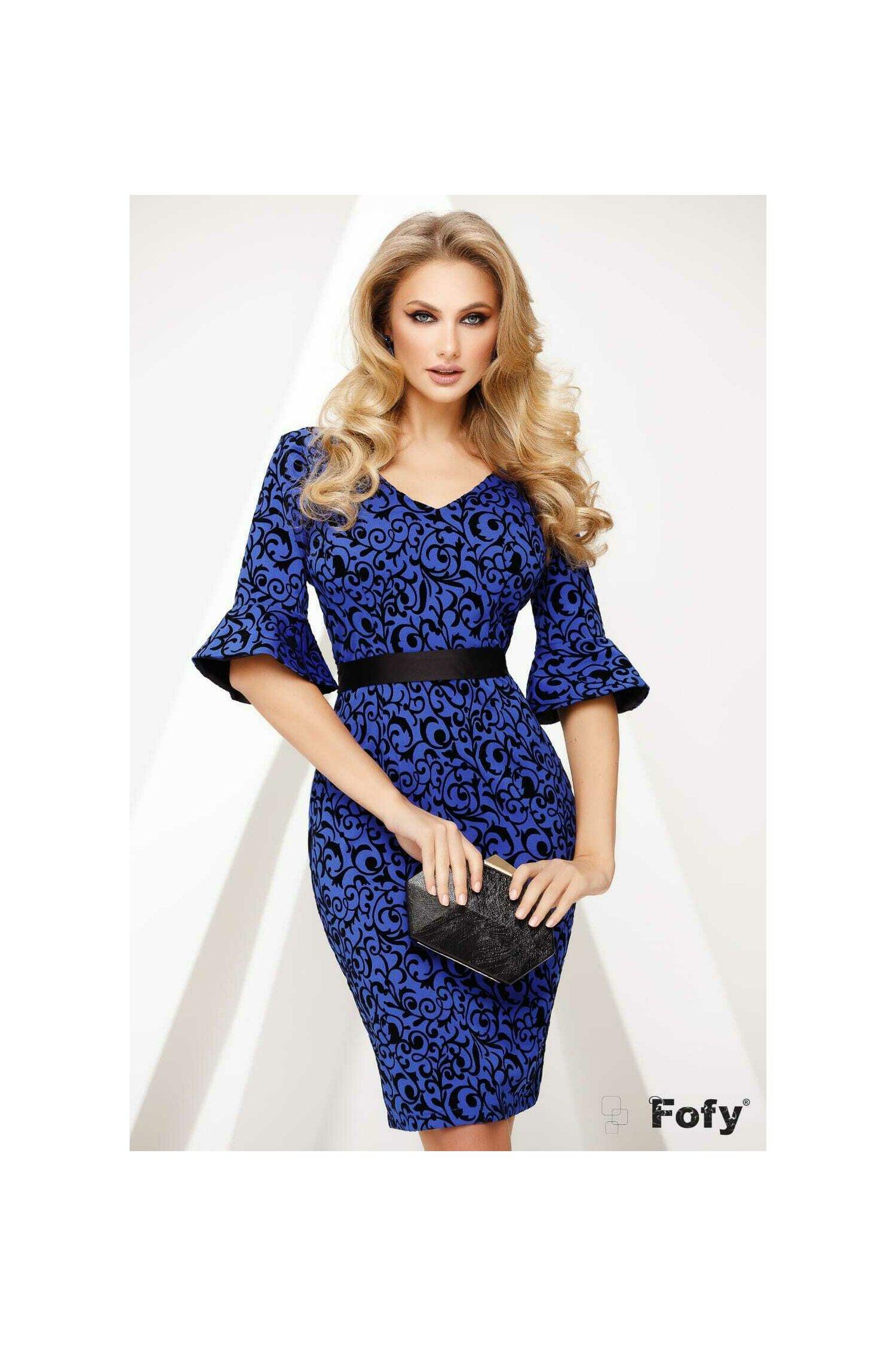Rochie Fofy dama albastru royal conica cu imprimeu catifelat arabesque imagine