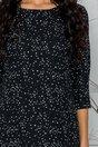 Rochie Gilly neagra cu stelute albe si design plisat la baza