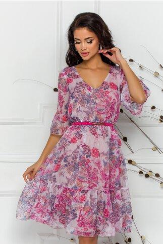 Rochie Ginette cu imprimeu floral in nuante de roz