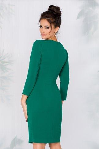 Rochie Ginette verde cu design petrecut