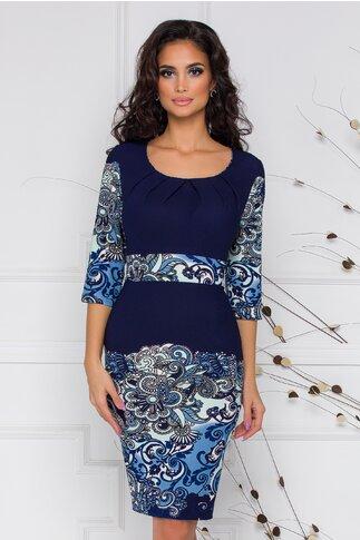 Rochie Irma bleumarin cu imprimeu floral in nuante de albastru