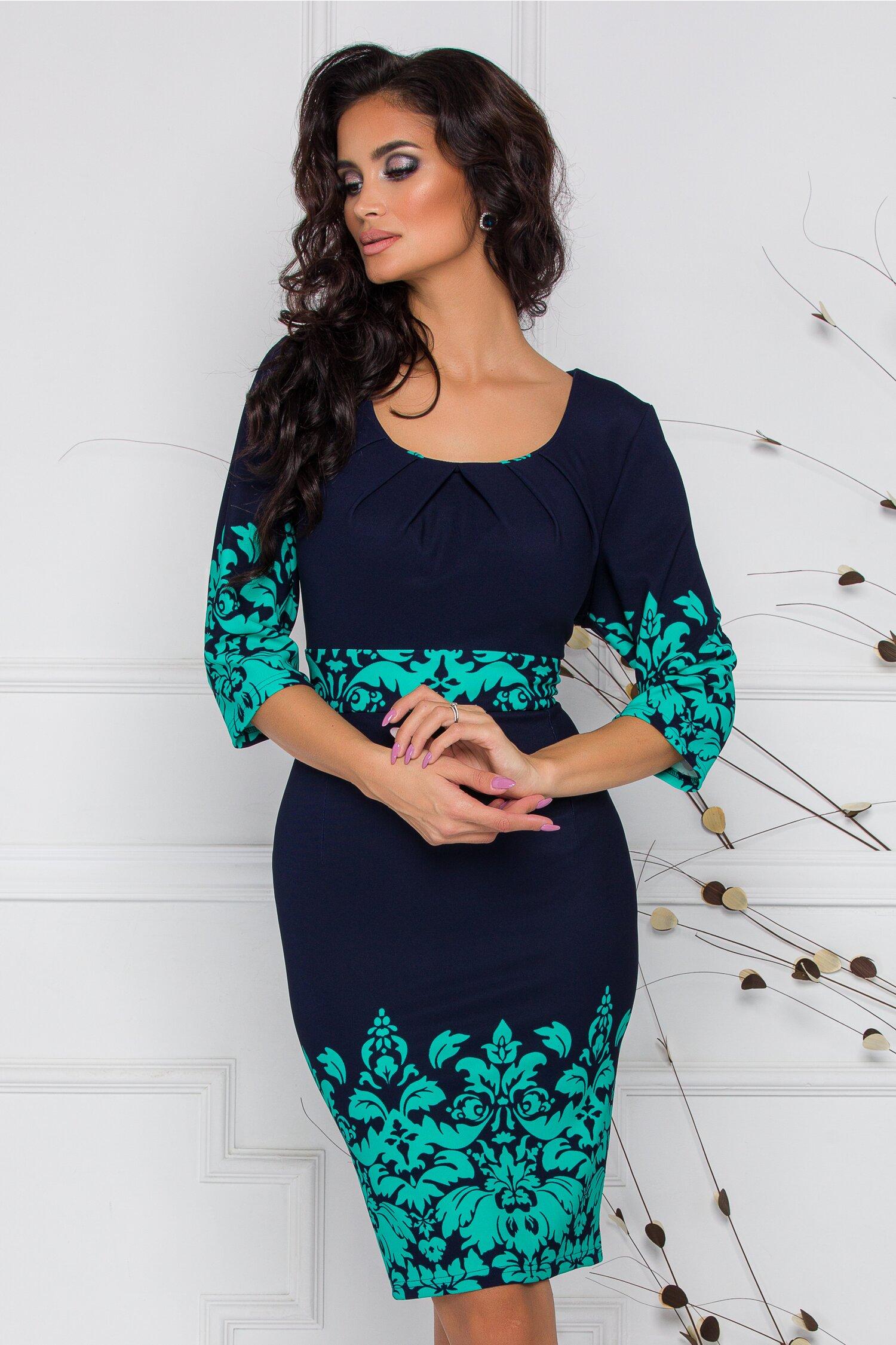 Rochie Irma bleumarin cu imprimeu floral in nuante de turcoaz