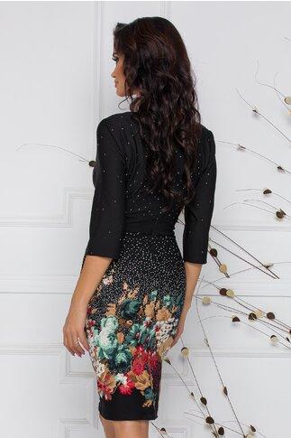 Rochie Irma neagra cu imprimeu divers floral si cu picatele in degrade