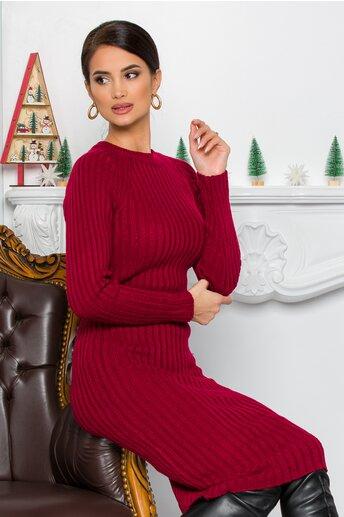 Rochie Iuliana bordo din tricot reiat