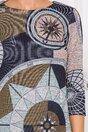 Rochie Kelly bleumarin cu imprimeu divers in nuante echilibrate