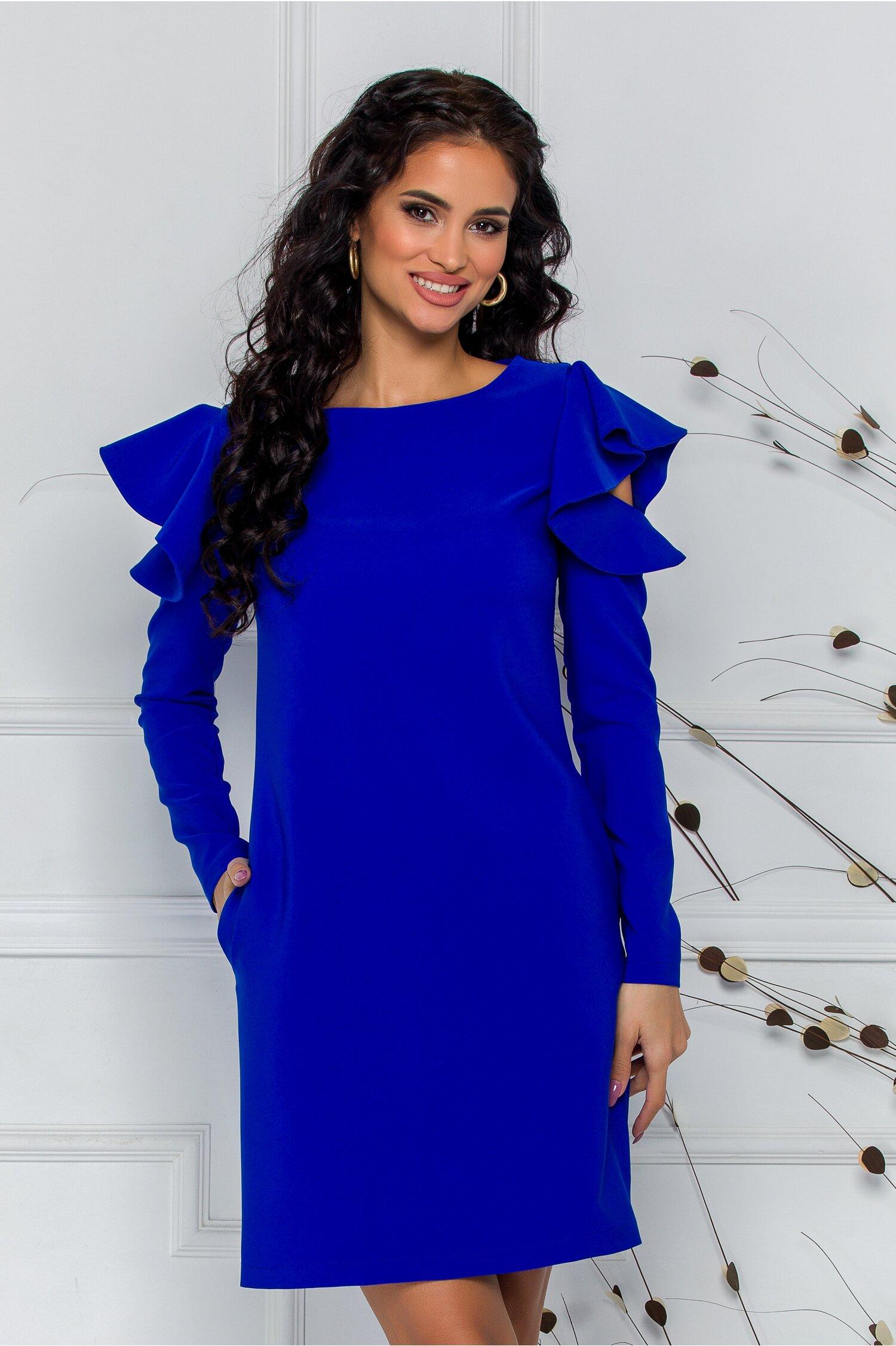 Rochie LaDonna albastra cu decupaj si volane la maneci