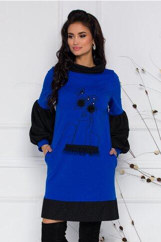 Rochie LaDonna by Catalin Botezatu albastra cu imprimeu si insertii din tull