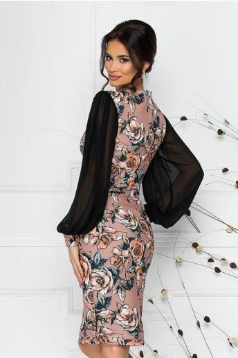 Rochie LaDonna cu imprimeu floral si maneci lejere din voal