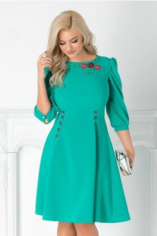 Rochie LaDonna verde cu broderie florala handmade 4XL(48)