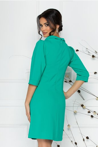 Rochie LaDonna verde deschis cu guler la baza gatului si accesorii tip buzunare