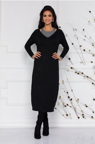 Rochie Lara din tricot neagra cu decupaje la umeri