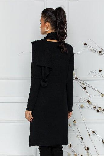 Rochie Larisa neagra cu accesoriu tip esarfa