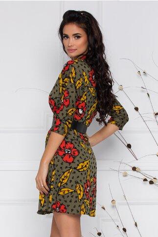 Rochie Lavinia kaki petrecuta cu imprimeu floral