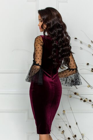 Rochie Leonard Collection bordo cu maneci din tull in clos