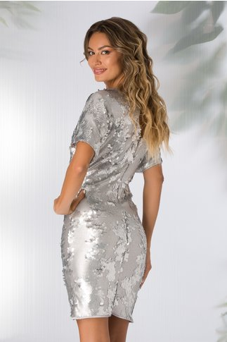 Rochie Leonard Collection din paiete gri