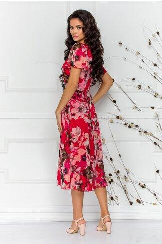 Rochie Leonard Collection midi rosie cu imprimeuri florale