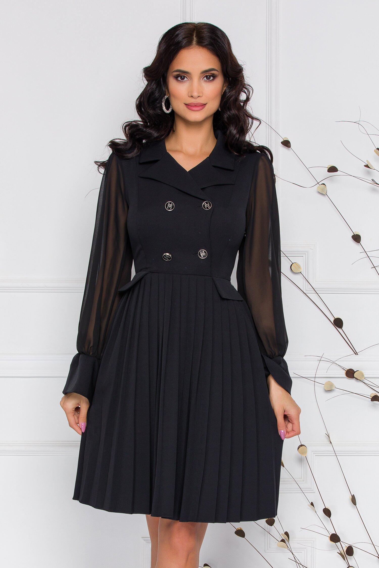 Rochie Margot neagra cu pliuri pe fusta