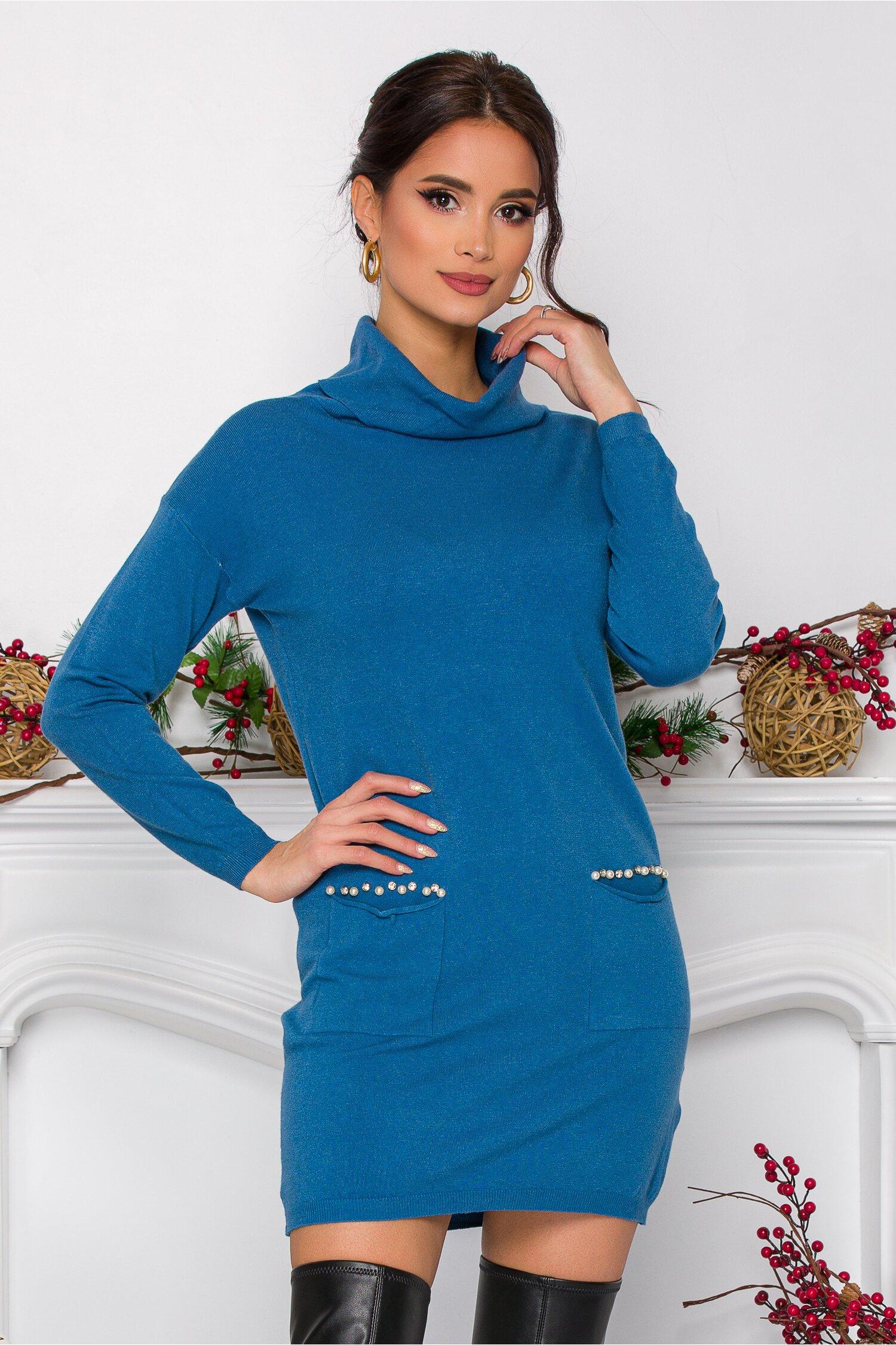 Rochie Maya albastra cu perlute la buzunare