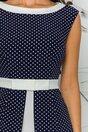 Rochie MBG alb-bleumarin cu buline